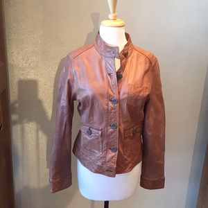 Gap leather jacket in cognac size large